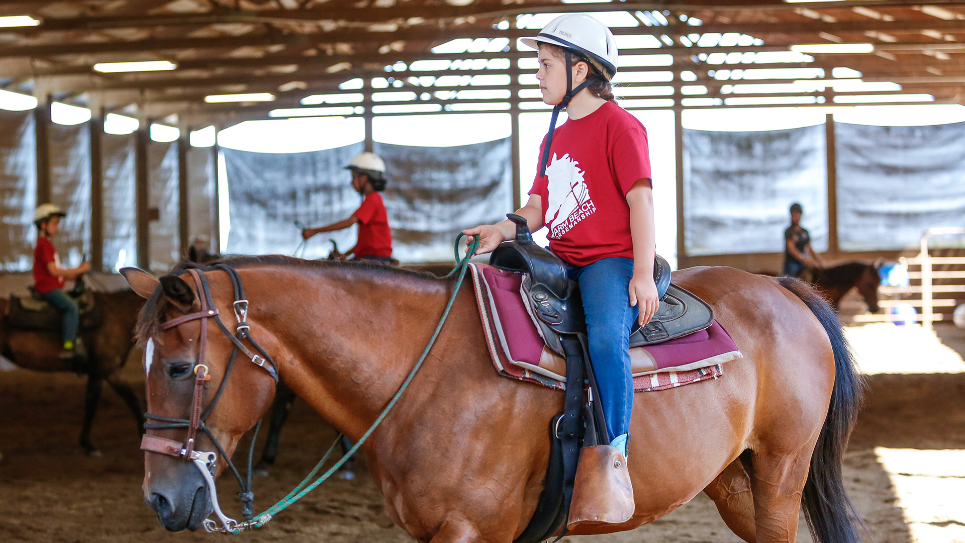 Riding lessons at Warm Beach Camp and Conference Center, Stanwood, WA; near Seattle.