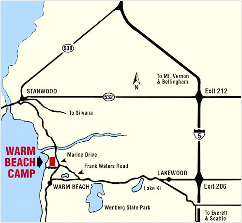 Map of Warm Beach Camp