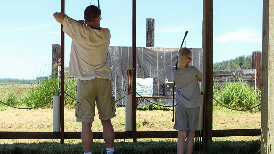 Dad and me, archery at Warm Beach Camp and Conference Center, Stanwood, WA; near Seattle.