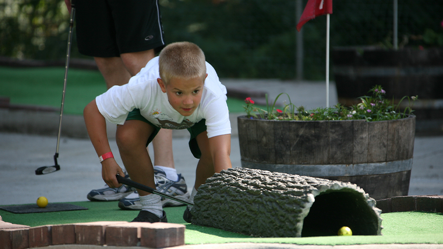 Oasis Family Camp, mini golf at Warm Beach Camp and Conference Center, Stanwood, WA; near Seattle.
