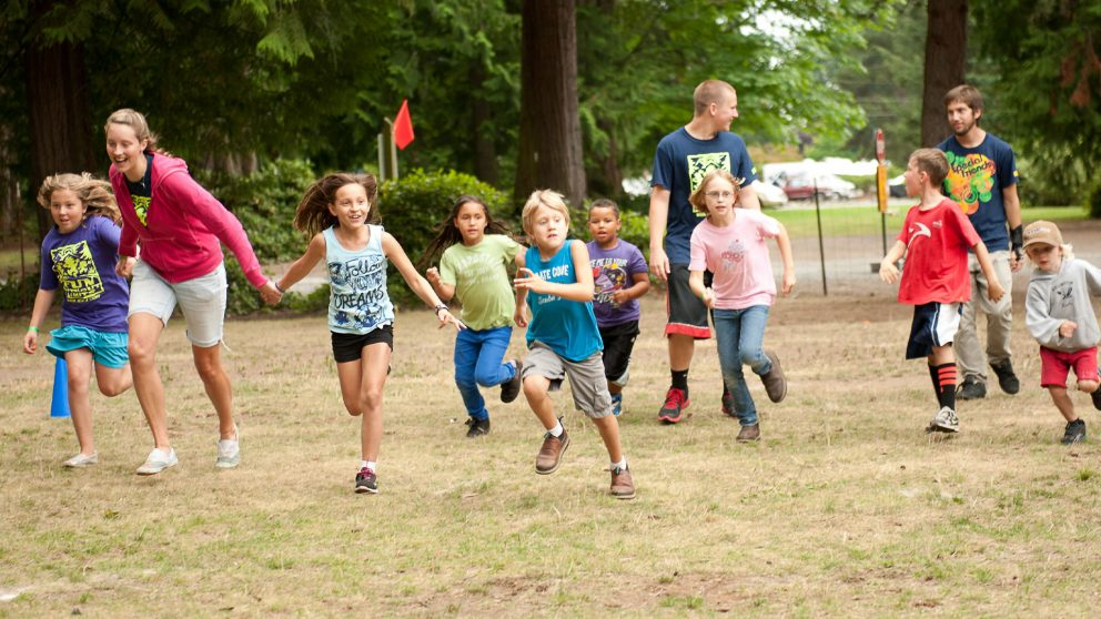 Summer day camp, outdoor activity, at Warm Beach Camp & Conference Center in Stanwood, WA; near Seattle, WA.