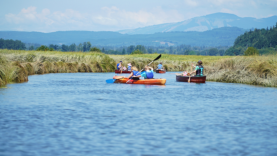 Canoeing & kayaking at Warm Beach Camp & Conference Center, Stanwood, WA, near Seattle.