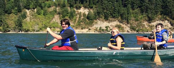 Canoeing during Summer Youth Camps at Warm Beach Camp
